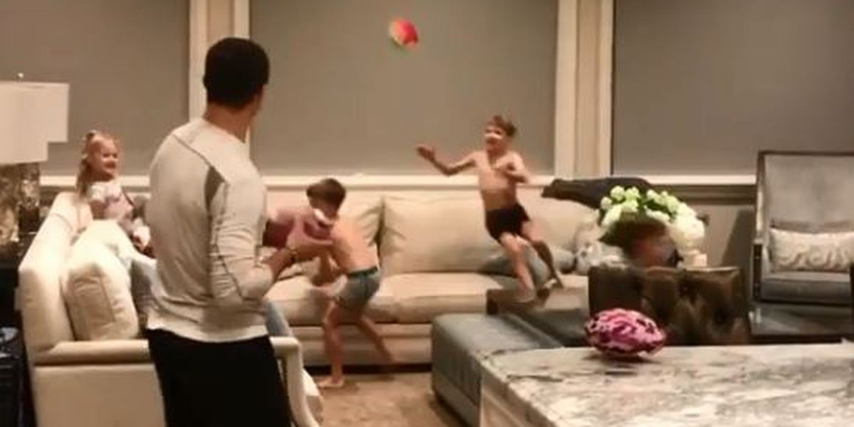 Brees' kids bedtime routine interrupted by pick-up football game