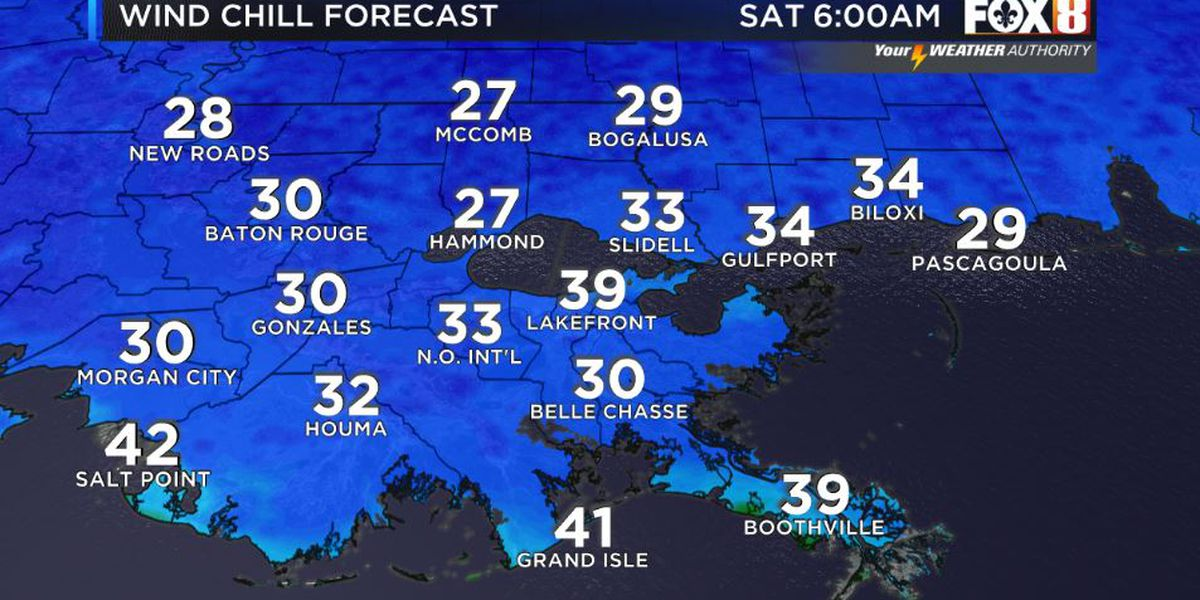 Low wind chills Saturday morning