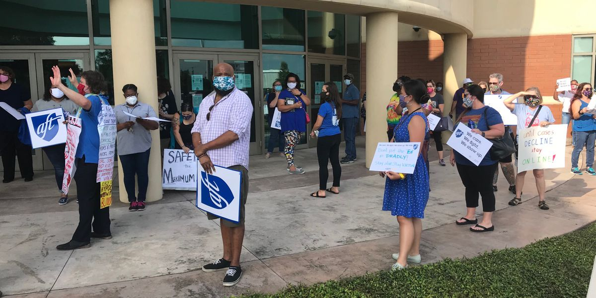 Hundreds of protesters gather before Jefferson Parish School Board meeting
