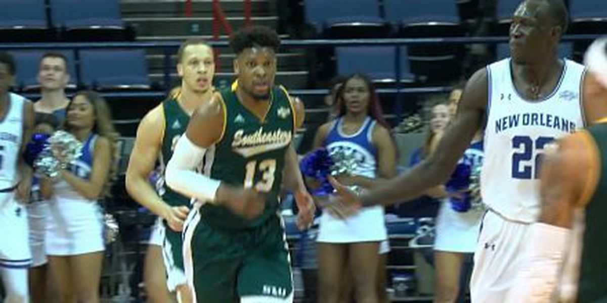 Southeastern men keeps Southland basketball race alive with win over UNO
