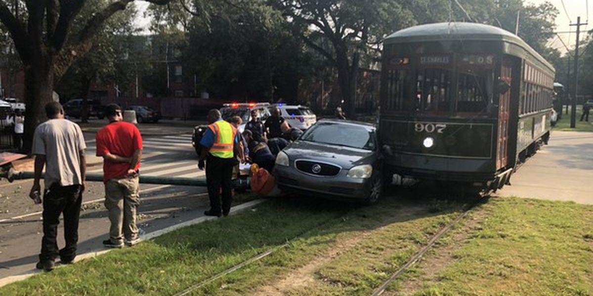 Street car involved in crash on St. Charles Avenue
