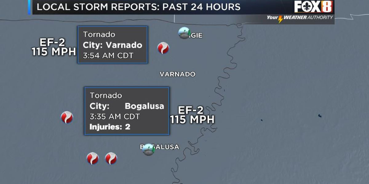 Two strong tornadoes confirmed in Washington Parish