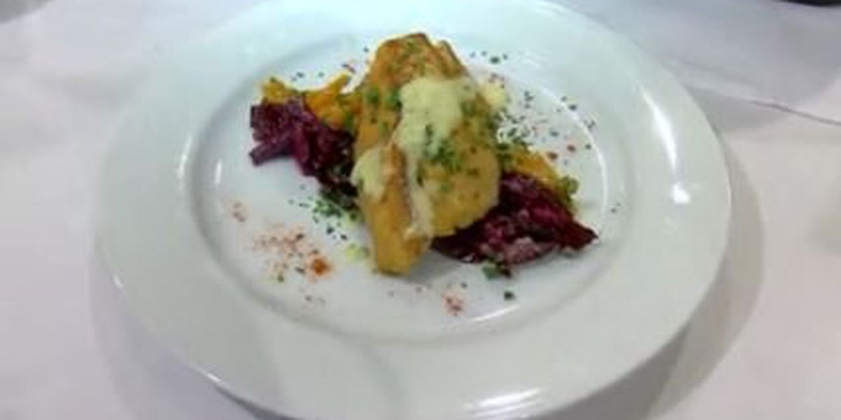 Chef John Folse: Pan-sauteed fillet of speckled trout on a bed of red and golden beets