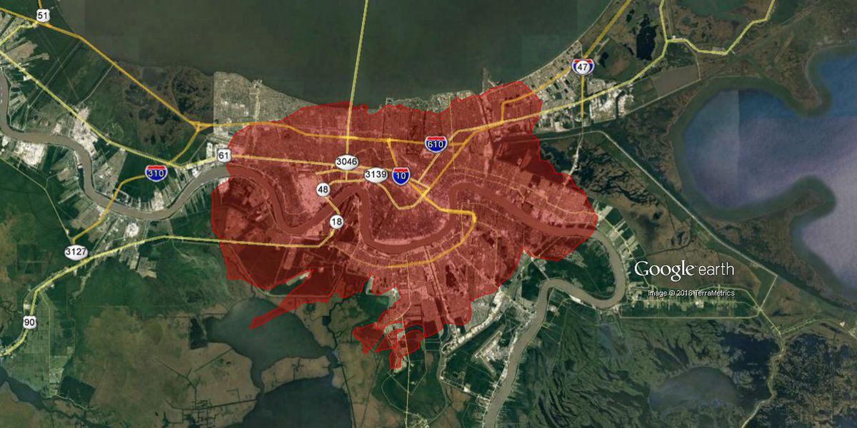 This is what the Camp Fire in California would look like superimposed over New Orleans
