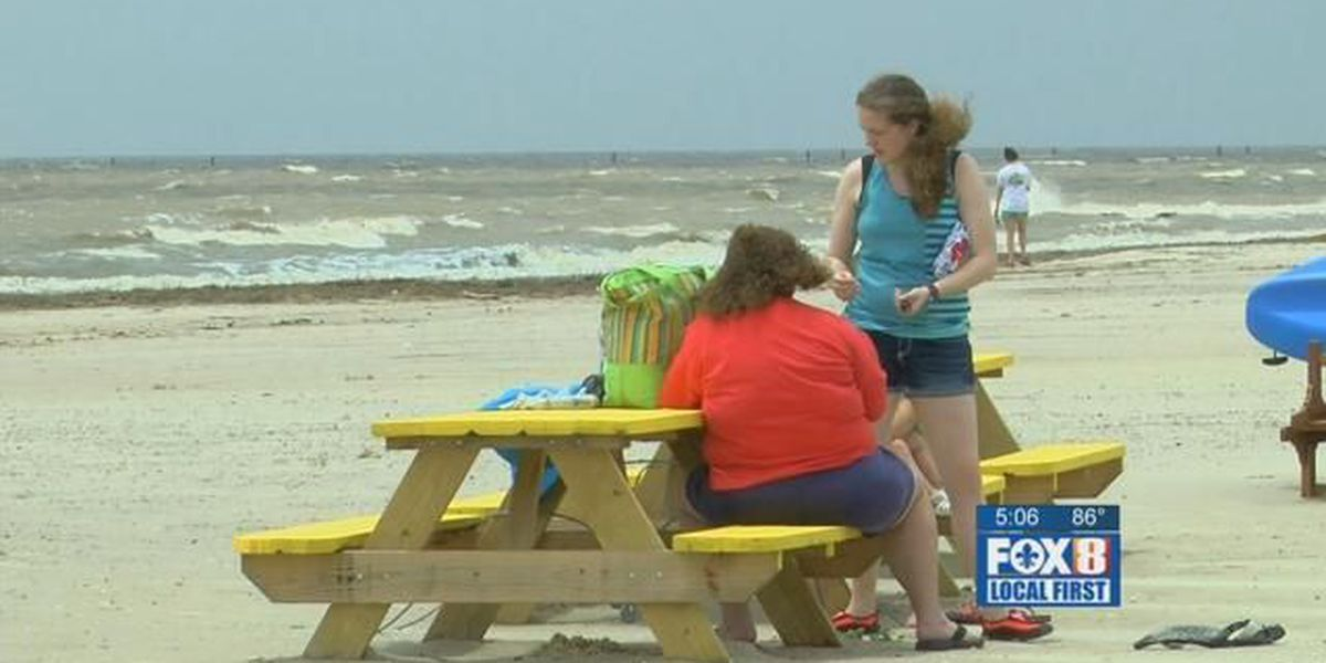 Strong wind and waves remain along the coast even as Cindy weakens