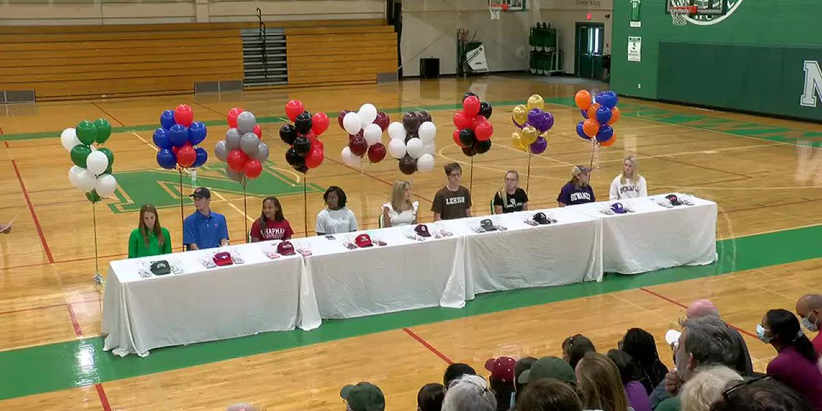 Nine Newman students sign athletic scholarships