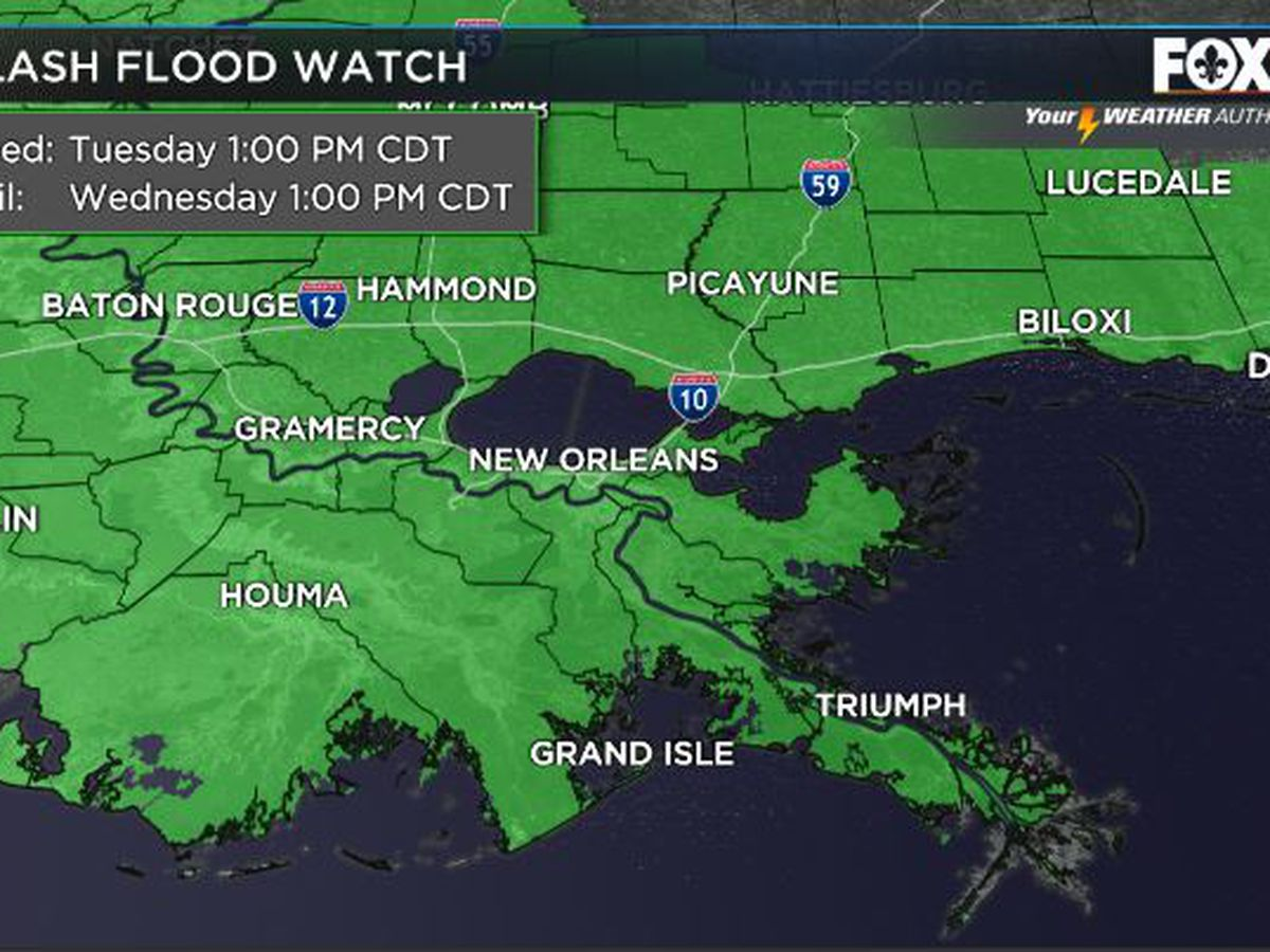 Rounds of heavy rain Tuesday; flash flood watch in effect