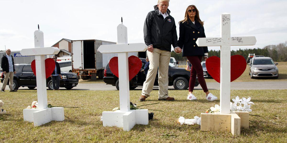 Alabama welcomes Trump days after tornado devastation