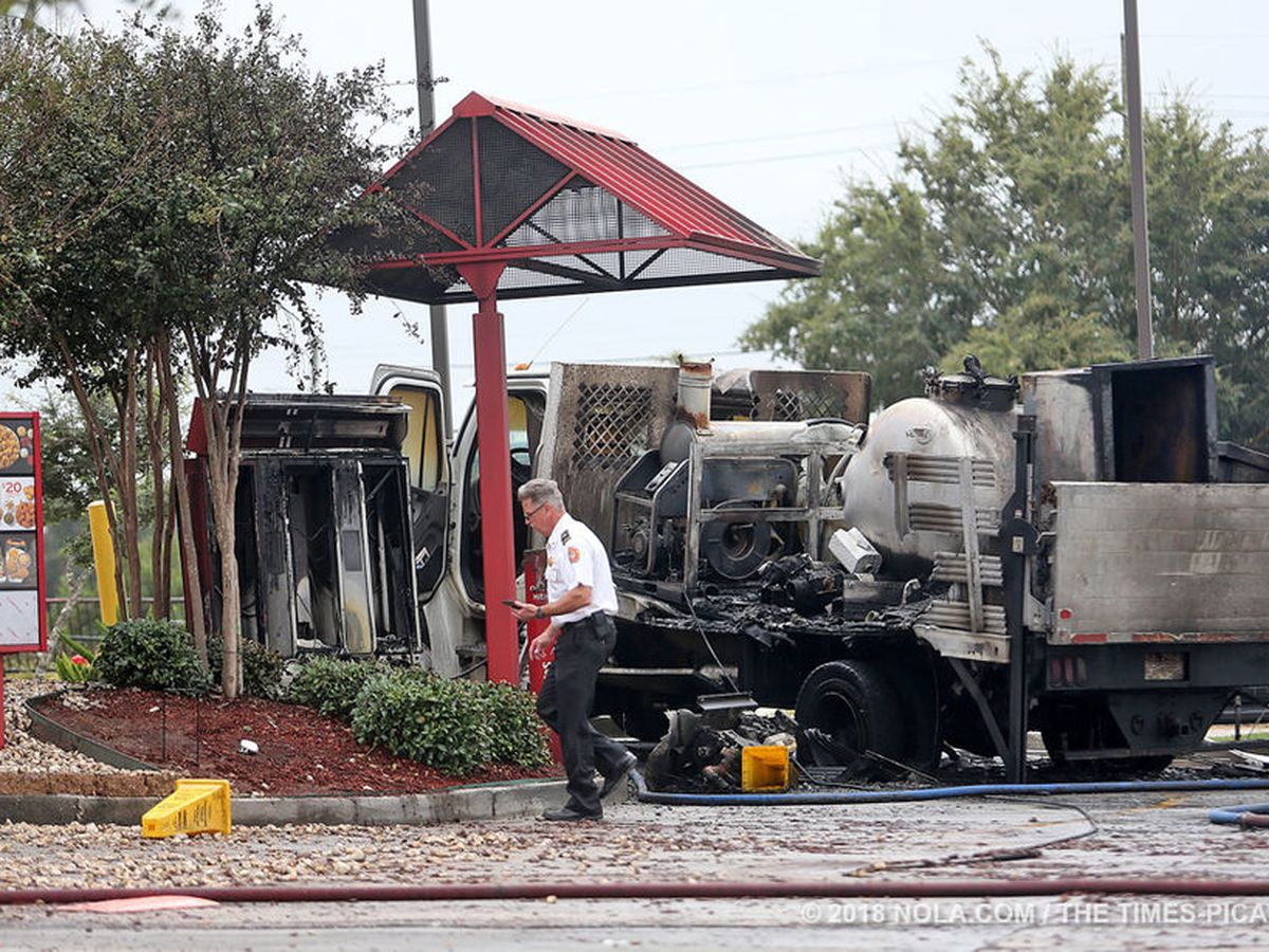 NOFD: Man injured when truck catches fire in Popeye's drive-through