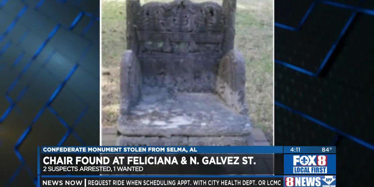Confederate monument chair stolen from Selma, AL found in New Orleans