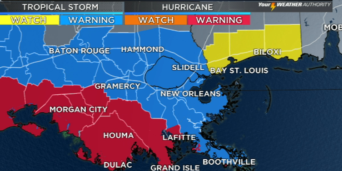 Hurricane warning, tropical storm warning issued for parts of southeast Louisiana coast