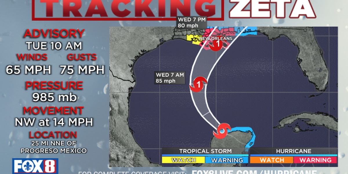 WATCH: Zeta has sights set on SE LA; landfall expected Wednesday night