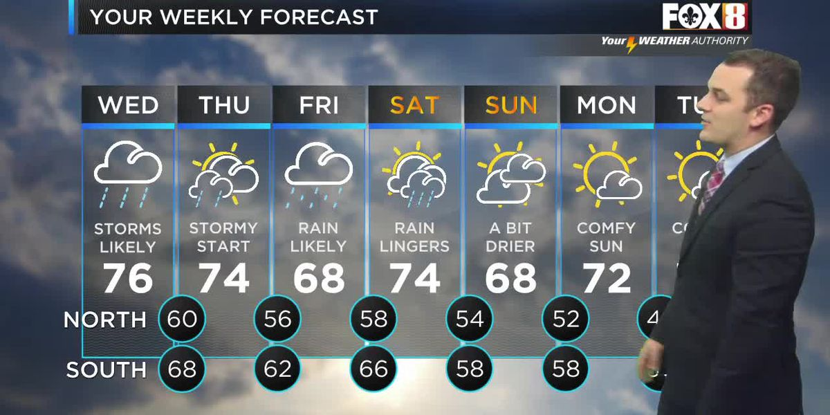 FORECAST: Wed., April 14 - More storms today as the wet pattern continues